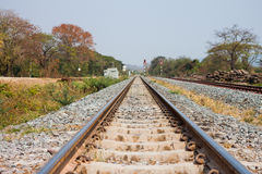 Railway tracks on background of scenery Royalty Free Stock Photos