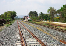 Railway tracks on background of scenery Stock Photography
