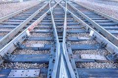 Railway tracks on the big station. Royalty Free Stock Image