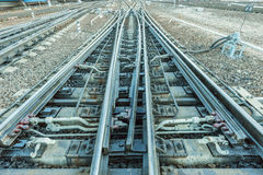 Railway tracks on the big station. Royalty Free Stock Photography
