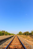 Railway tracks with blue sky in the evening Royalty Free Stock Images