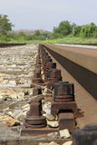 Railway tracks. Bolts of a railway track Royalty Free Stock Images