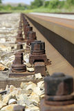 Railway tracks. Bolts of a railway track Stock Photo