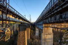 Between the railway tracks of the bridge, outside the city outdoors, traveling to Russia Stock Photography