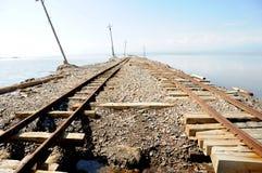 Railway tracks in Caka Salt Lake Royalty Free Stock Photography