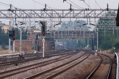 Railway tracks close to Stafford train station on the UK North West Stock Photography