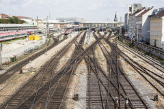 Railway tracks. Close to the train station stock photography