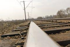 Railway Tracks Close up Stock Photography
