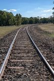 Railway tracks closeup from NSW Australia. Railway tracks closeup from along the Castlereagh Highway near Digilah W Rd in mid NSW Australia royalty free stock photos