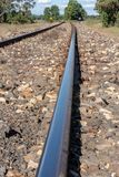 Railway tracks closeup from NSW Australia. Railway tracks closeup from along the Castlereagh Highway near Digilah W Rd in mid NSW Australia stock photography