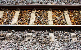 Railway tracks on concrete sleeper Royalty Free Stock Photo