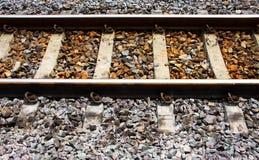 Railway tracks on concrete sleeper. Railway Tracks, single track, rail road on concrete sleeper Royalty Free Stock Photo
