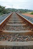 Railway tracks with concrete sleepers. Royalty Free Stock Images
