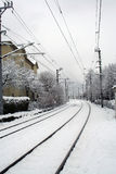 Railway Tracks Covered in Snow Royalty Free Stock Image