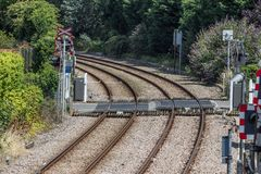 Railway tracks and crossing Stock Photography