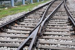 Railway tracks. Crossing together with Forward extension royalty free stock photography
