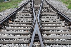 Railway. Tracks Crossing together with Forward extension royalty free stock photos