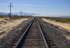Railway tracks in the desert. Railway tracks in the mojave desert Stock Image