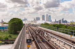 The railway tracks of Docklands Light Railway Royalty Free Stock Image