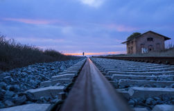Railway tracks at dusk Stock Photography