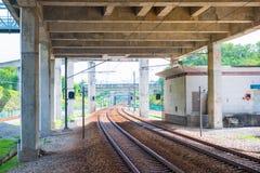 Railway tracks for electric train in Malaysia. Train Stock Photo