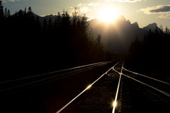 Railway tracks in the evening Stock Images