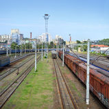 Railway tracks with freight trains Stock Images