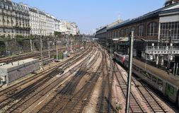 Railway tracks in Paris, France. Railway tracks from Gare Saint-Lazare railway station in Paris, France royalty free stock images
