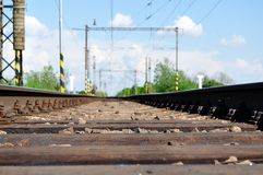 Railway tracks with girder and gravel Stock Photo
