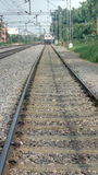 Railway tracks. A glimpses of indian railway train specially diseal loco coming toward a person . Front approaching view of train Stock Photography