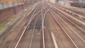 Railway tracks in high speed stock video
