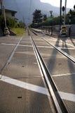 Railway Tracks - Italy. Railway crossing in the italian tyrol - europe stock image