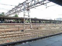 Railway tracks. Its photo of railway tracks near platform at Mumbai,India stock photo