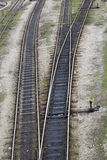 Railway tracks. Leading to different ways Stock Photo