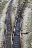 Railway tracks. Leading to different ways stock photo