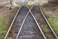 Railway tracks leading to different ways Stock Photography