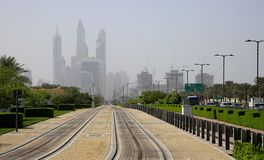 Railway tracks leading to Dubai Marina royalty free stock photos