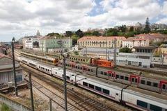 Railway tracks lisbon Royalty Free Stock Photo