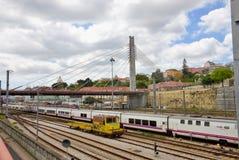 Railway tracks lisbon Stock Image