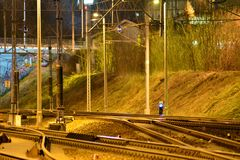 Railway tracks on long exposure at night stock images