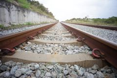 Railway tracks metal and rush straight with lens fare effect stock photos