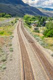 Railway Tracks in Mountain Landscape Stock Photos