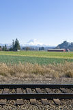 Railway tracks and Mt Rainier Stock Photography