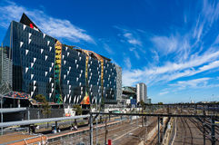 Railway tracks and NAB village at Docklands Stock Image