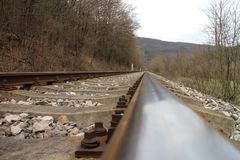 Railway tracks near Castle of Countess Elisabeth Báthory, Čachtice. Slovakia royalty free stock photography