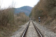 Railway tracks near Castle of Countess Elisabeth Báthory, Čachtice. Slovakia stock photography