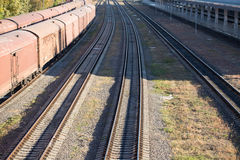 Railway tracks near train station Royalty Free Stock Photography