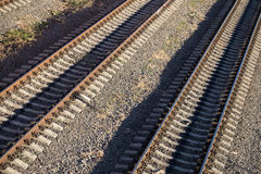Railway tracks near train station Stock Images