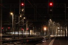 Railway tracks at night stock image