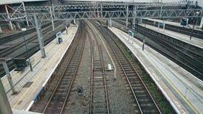 Railway tracks. Nine railway tracks and corrisponding walkways royalty free stock photos